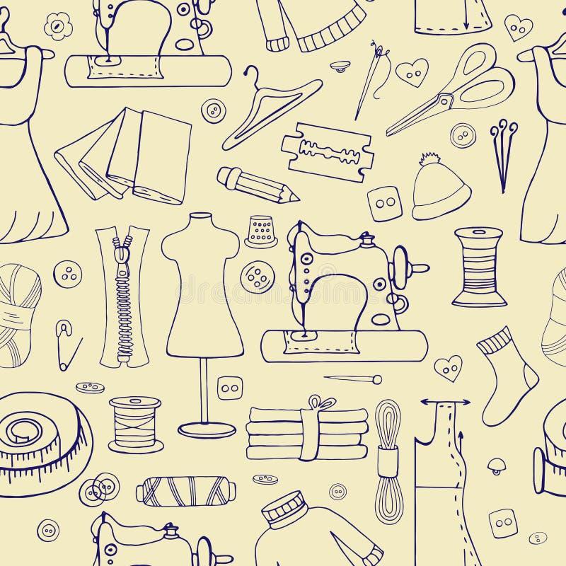 Modèle sans couture avec des choses de couture sur le fond clair illustration stock
