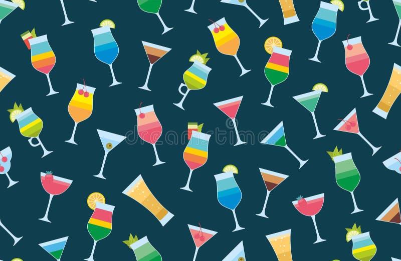 Modèle sans couture avec des cocktails illustration stock