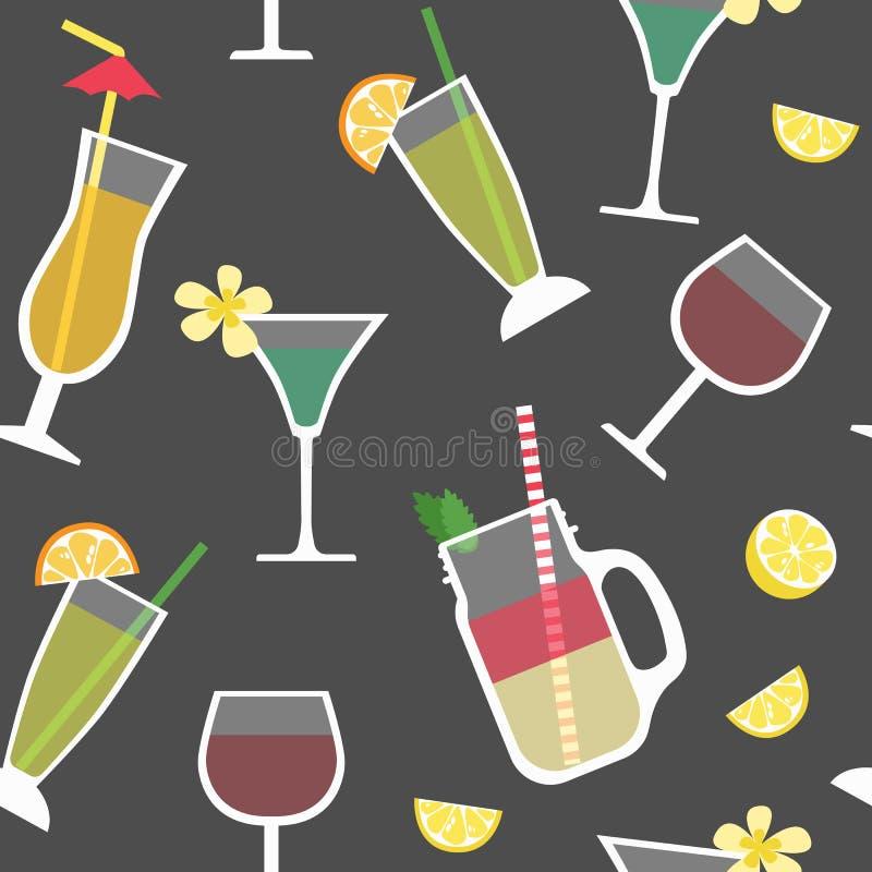 Modèle sans couture avec des cocktails, boissons alcoolisées illustration libre de droits