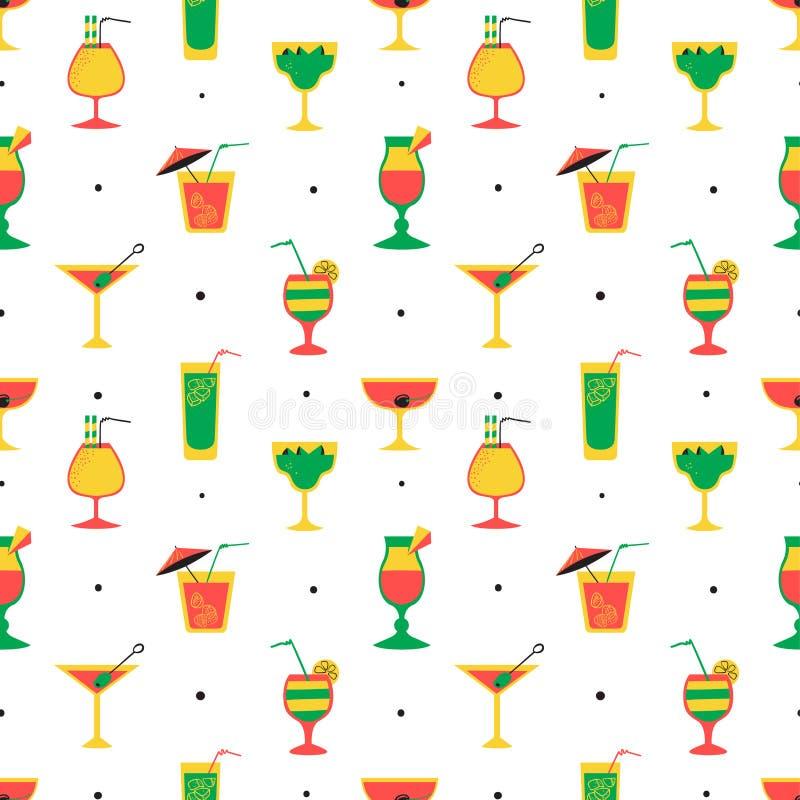 Modèle sans couture avec des cocktails d'alcool Tuile plate de style de bande dessinée illustration stock