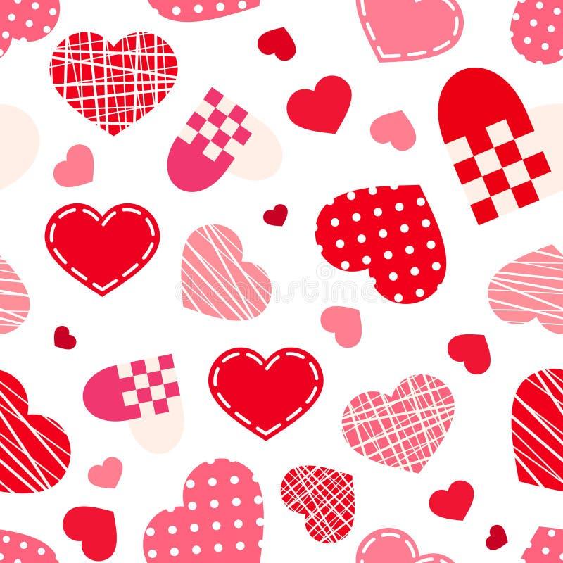 Modèle sans couture avec des coeurs de Saint-Valentin Illustration de vecteur illustration libre de droits