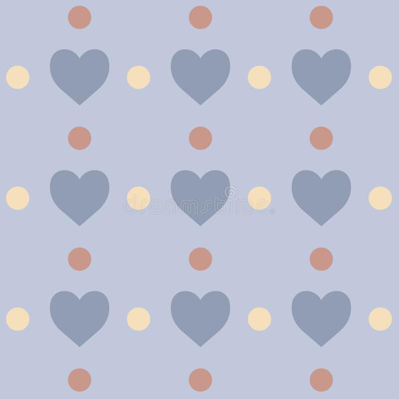 Modèle sans couture avec des coeurs et des cercles Fond mignon avec des couleurs en pastel photo libre de droits