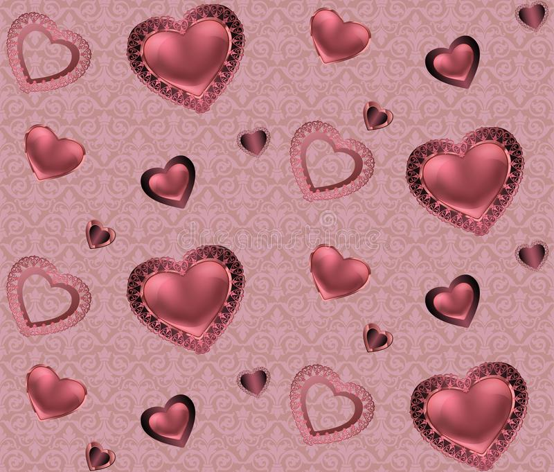 Modèle sans couture avec des coeurs et ornement sur un fond rose et rouge avec les valentines romantiques de fleurs illustration stock
