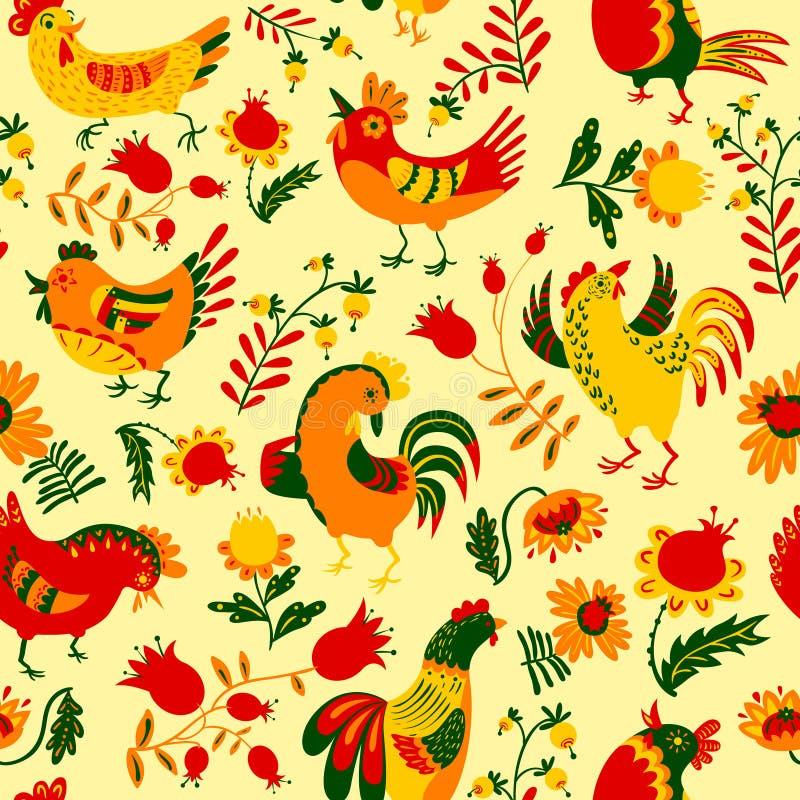 Modèle sans couture avec des coqs Backgroun floral décoratif mignon illustration stock
