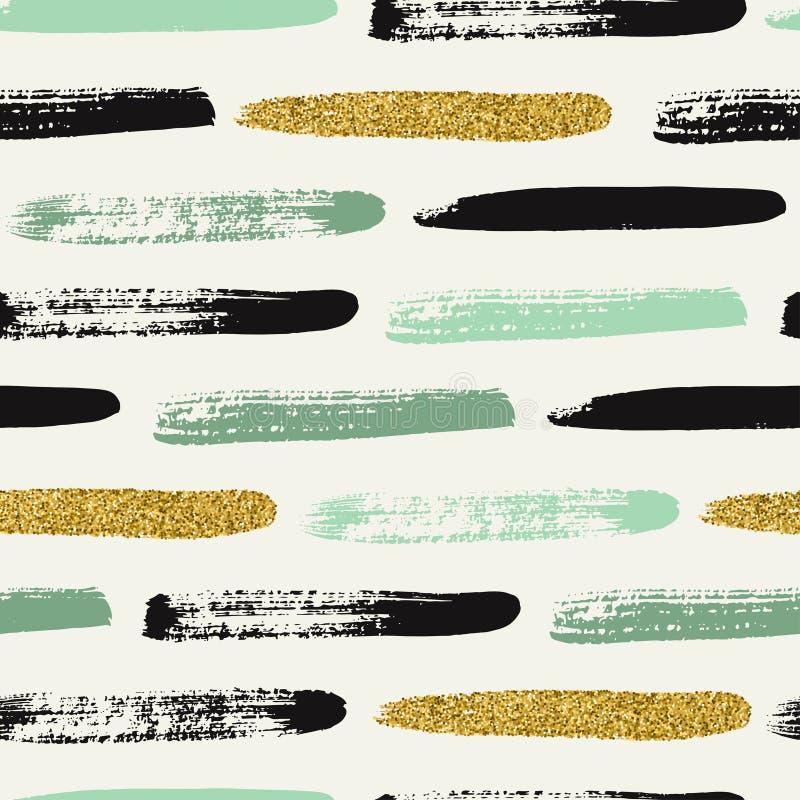Modèle sans couture avec des courses de brosse de scintillement d'or illustration libre de droits