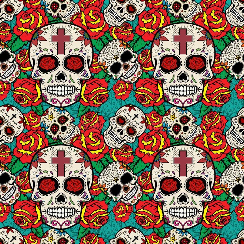 Modèle sans couture avec des crânes et des roses de sucre Jour des morts illustration de vecteur