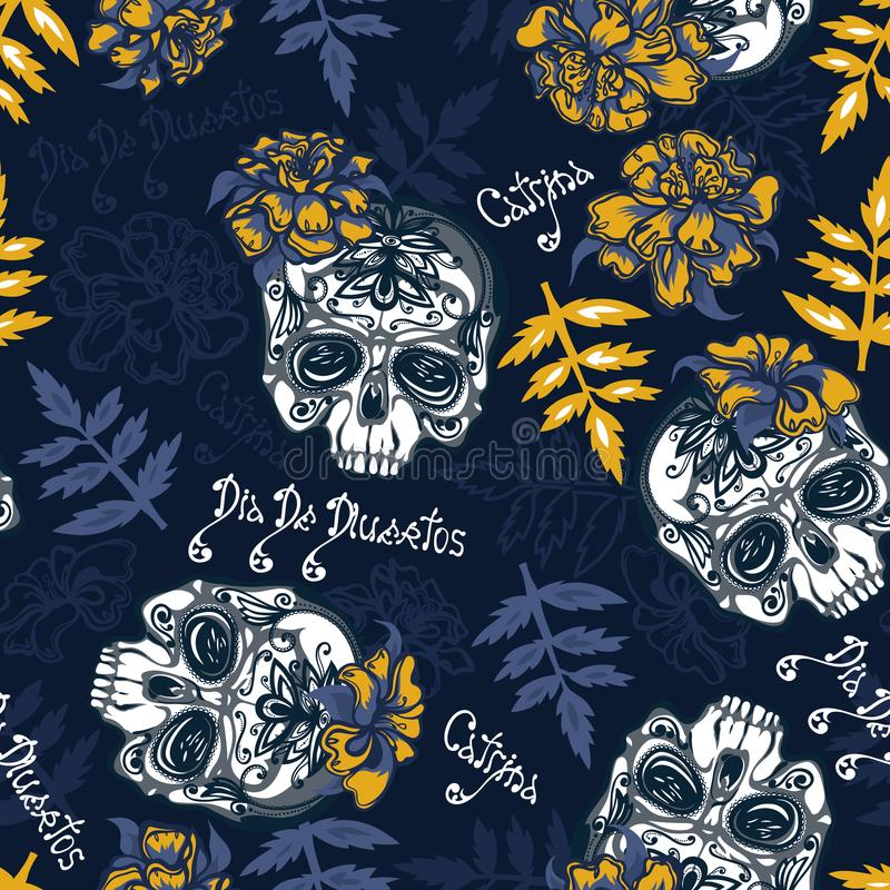 Modèle sans couture avec des crânes, des fleurs de soucis et des feuilles illustration stock