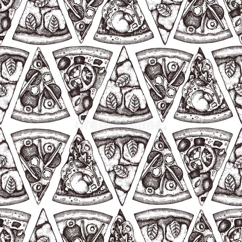 Modèle sans couture avec des croquis tirés par la main de tranche de pizza Dessin italien de nourriture de vecteur pour l'empaque illustration de vecteur