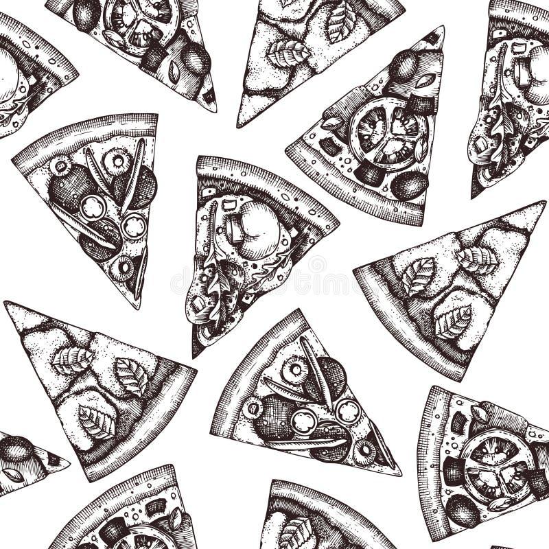 Modèle sans couture avec des croquis tirés par la main de tranche de pizza Dessin italien de nourriture de vecteur pour l'empaque illustration libre de droits