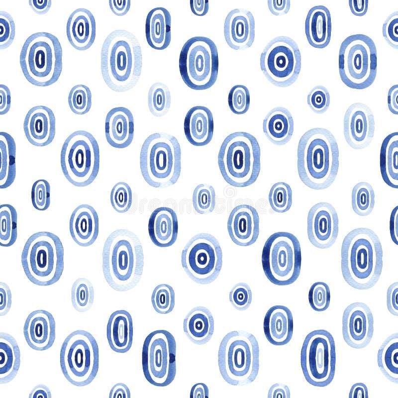 Modèle sans couture avec des ellipses bleues illustration libre de droits