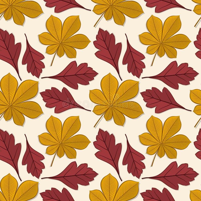 Modèle sans couture avec des feuilles d'automne de châtaigne et d'aubépine illustration libre de droits