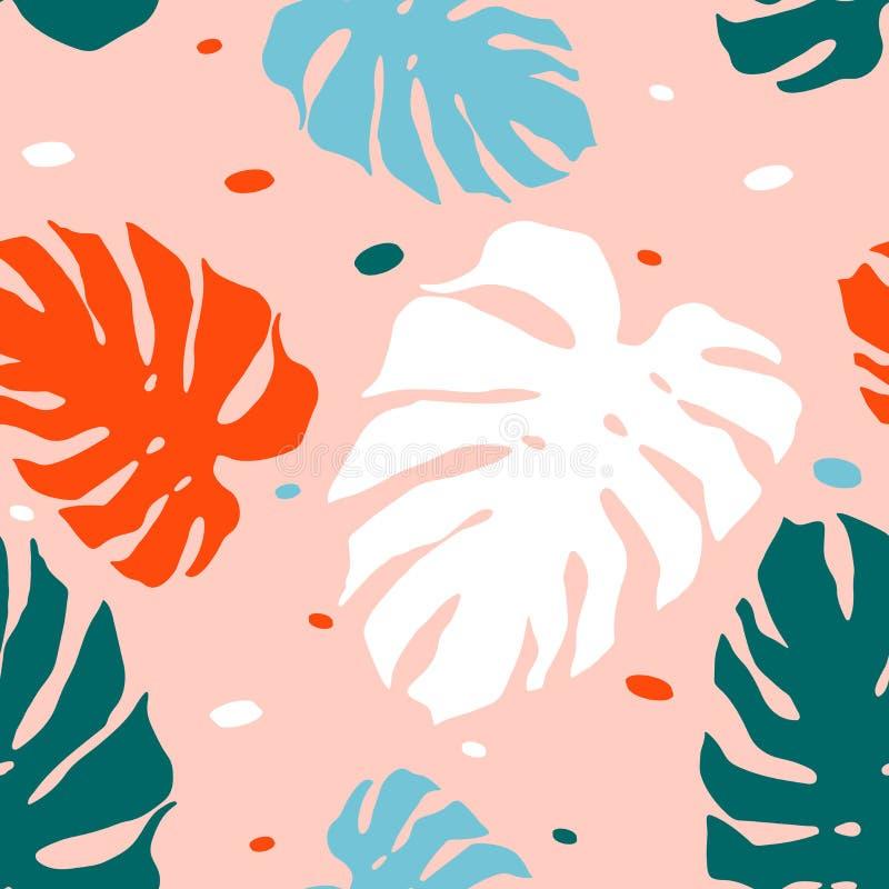 Modèle sans couture avec des feuilles de monstera illustration libre de droits