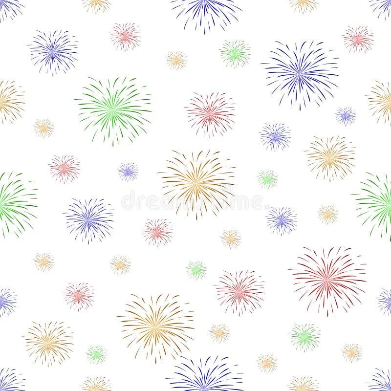 Modèle sans couture avec des feux d'artifice sur le fond blanc illustration libre de droits