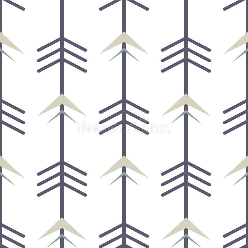 Modèle sans couture avec des flèches en noir gris en pastel et crème Fond géométrique de répétition d'éléments de style tribal illustration stock
