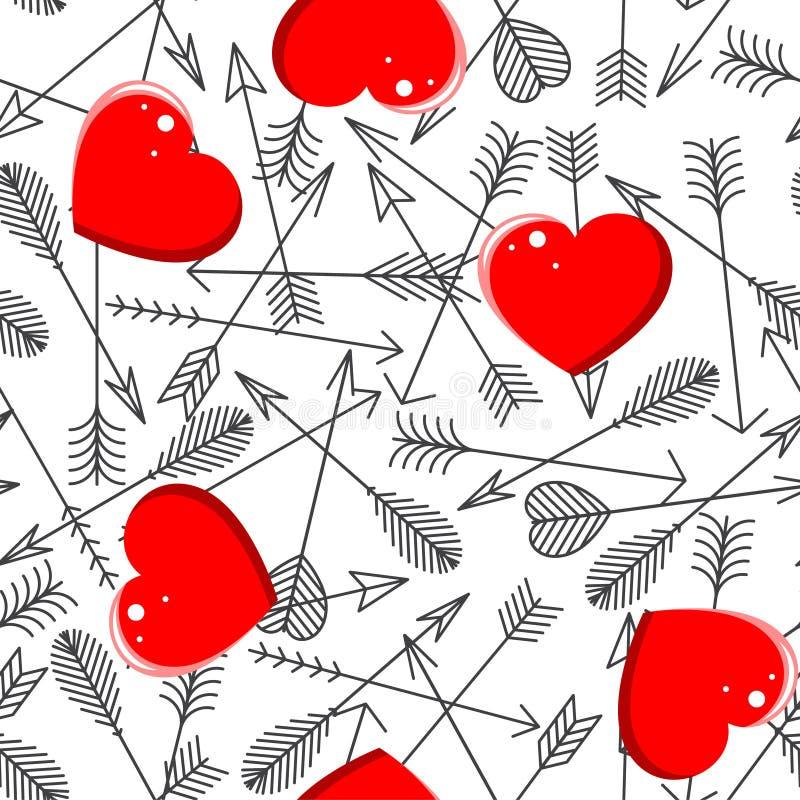 Modèle sans couture avec des flèches et des coeurs illustration stock