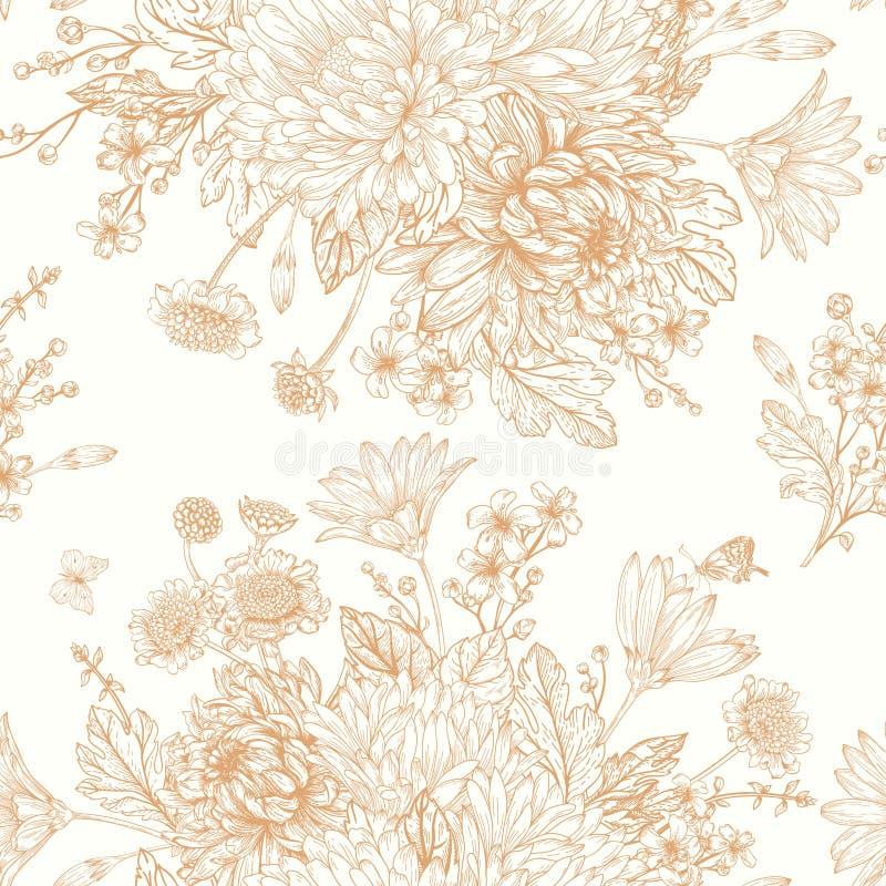 Modèle sans couture avec des fleurs d'été illustration de vecteur