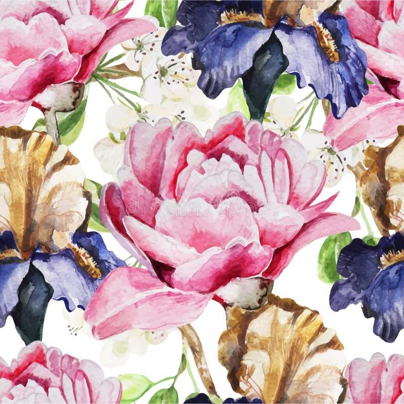 Modèle sans couture avec des fleurs d'aquarelle iris illustration libre de droits