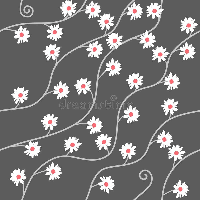 Modèle sans couture avec des fleurs de camomille sur le fond gris dans le vecteur Copie pour le tissu illustration stock