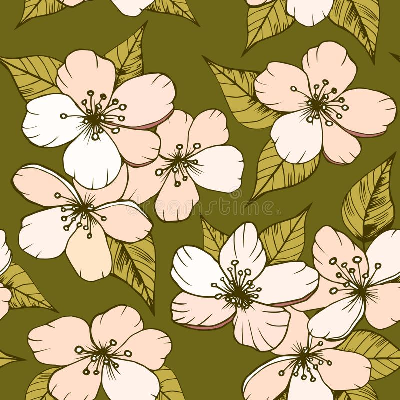 Modèle sans couture avec des fleurs de cerisier illustration stock