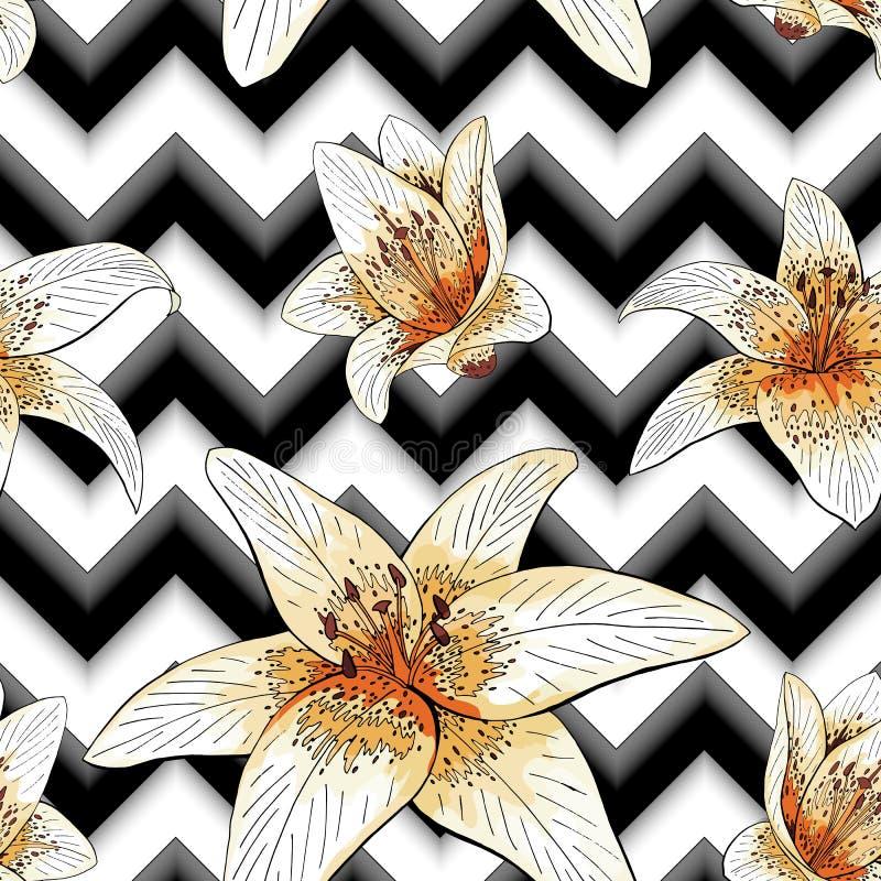 Modèle sans couture avec des fleurs de lis tigré d'image sur un fond géométrique illustration libre de droits