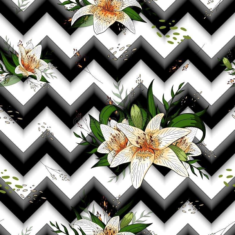 Modèle sans couture avec des fleurs de lis tigré d'image sur un fond géométrique illustration stock