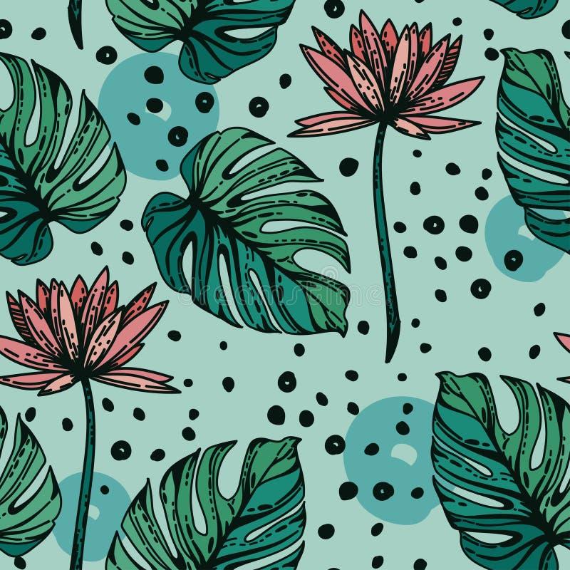 Modèle sans couture avec des fleurs de lotus, des leves de monstera et des points tirés par la main illustration stock