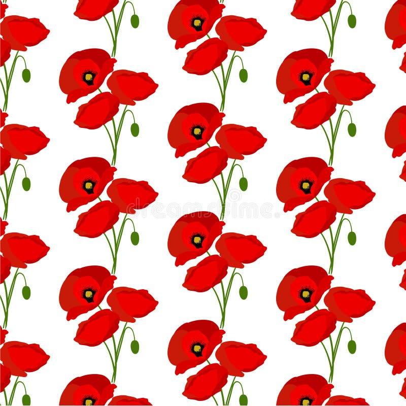 Modèle sans couture avec des fleurs de pavots illustration libre de droits