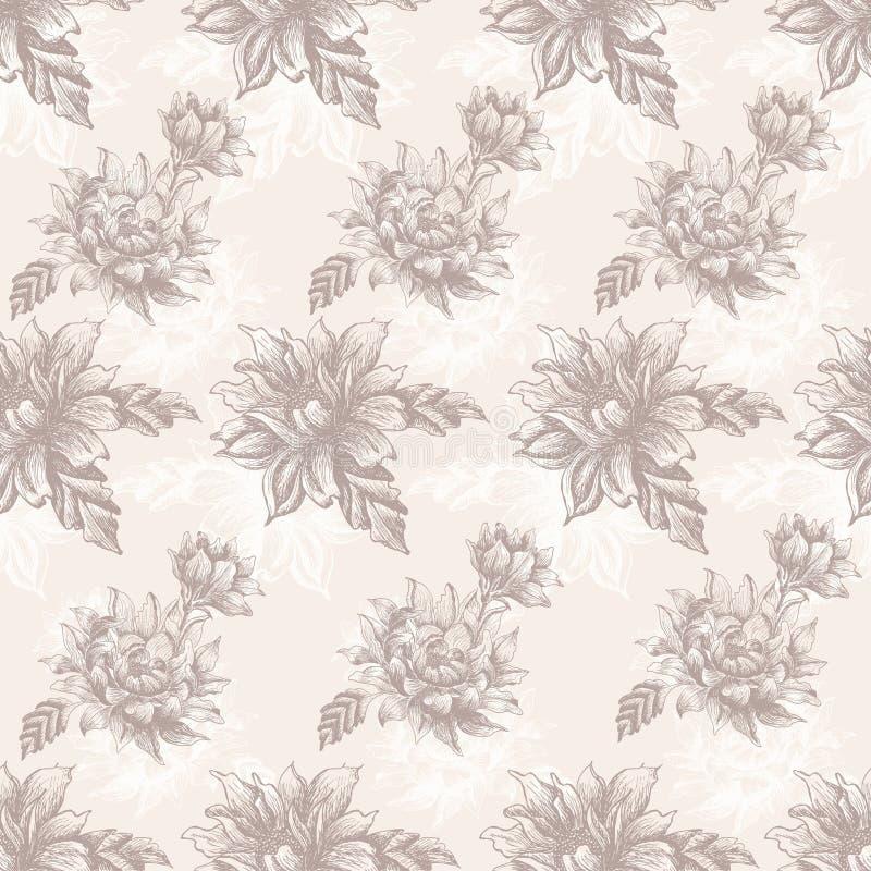 Modèle sans couture avec des fleurs de vintage illustration de vecteur
