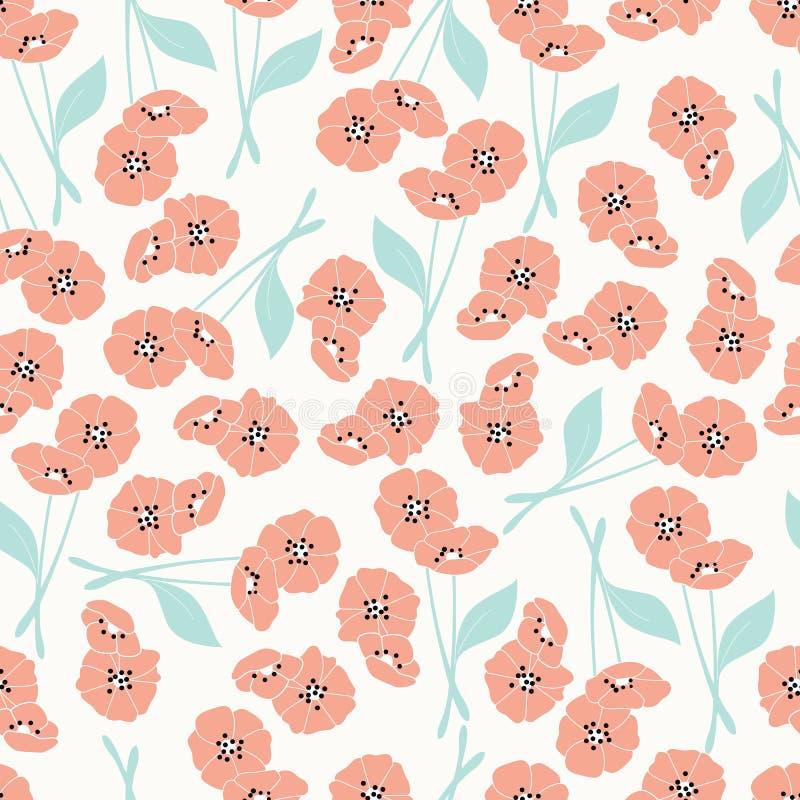 Modèle sans couture avec des fleurs et des éléments floraux, la vie de nature illustration de vecteur