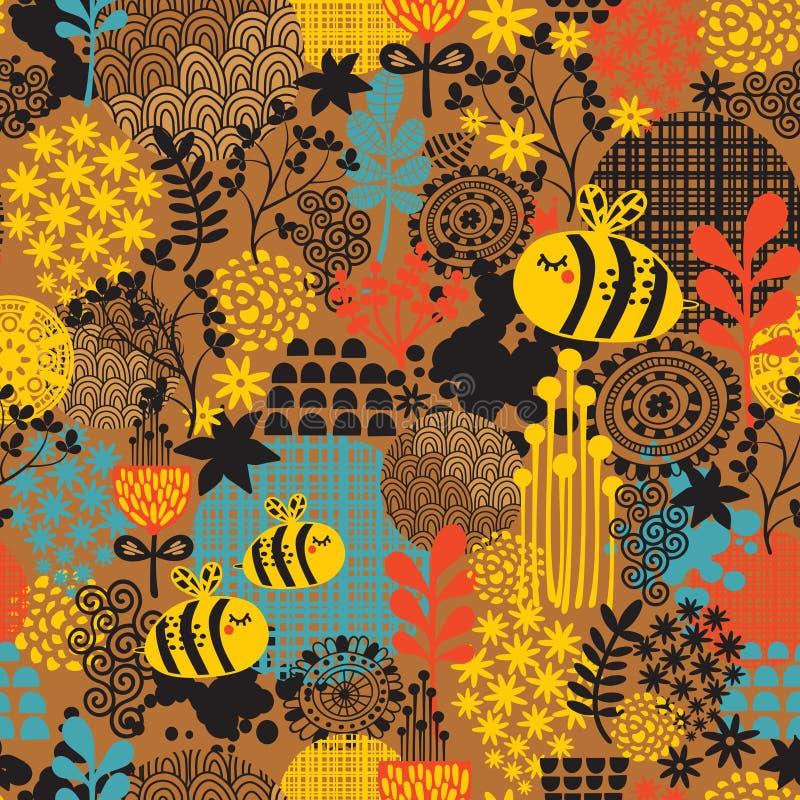 Modèle sans couture avec des fleurs et des abeilles. illustration stock