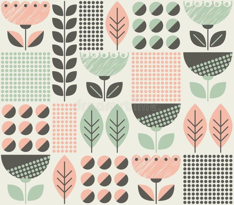 Modèle sans couture avec des fleurs et des feuilles dans le rétro style scandinave illustration de vecteur