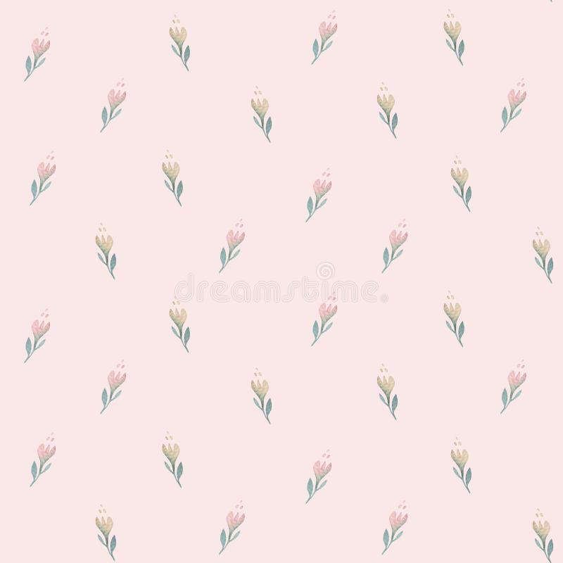 Modèle sans couture avec des fleurs et des feuilles de saule de ressort Fond tiré par la main de Pâques avec la branche de chat-s illustration stock