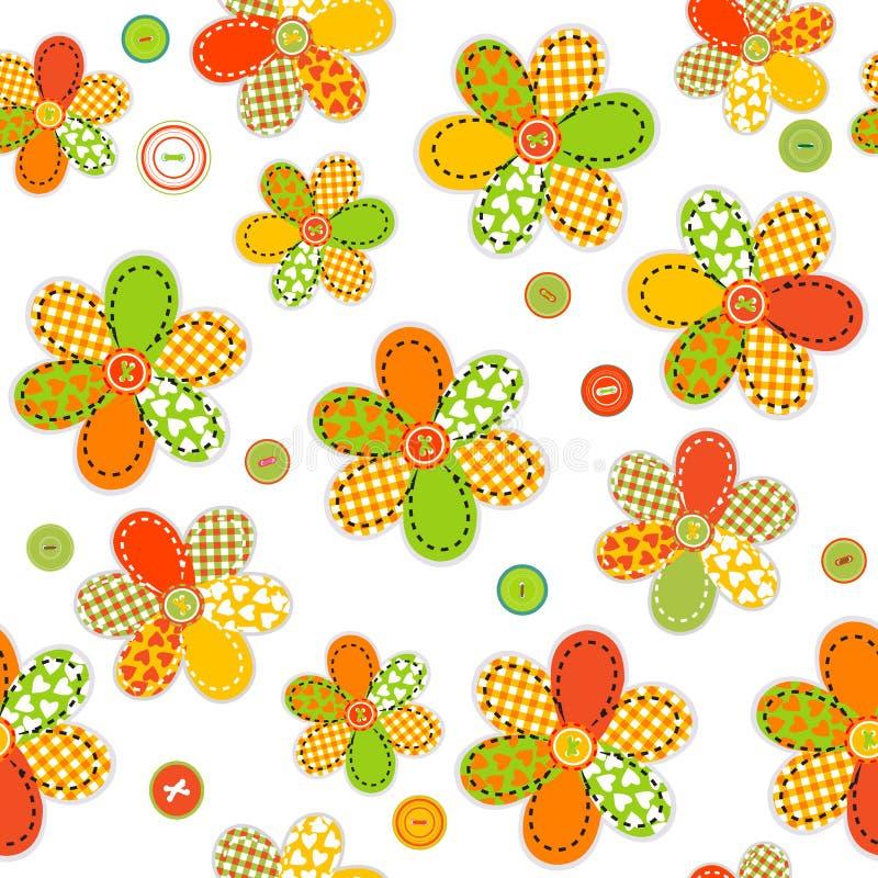 Modèle sans couture avec des fleurs faites de corrections et boutons de couture illustration stock