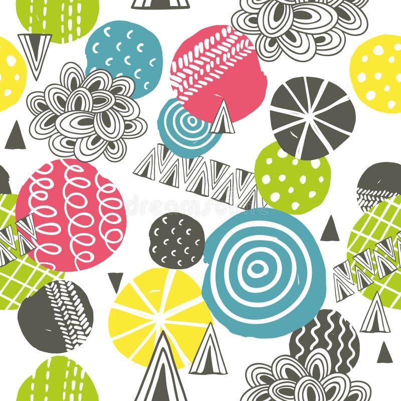 Modèle sans couture avec des formes abstraites lumineuses illustration stock