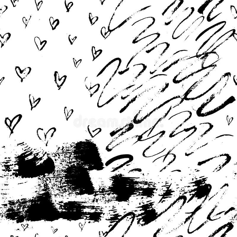 Modèle sans couture avec des formes de vague minces tirées par la main, des coeurs et des courses audacieuses Copie abstraite de  illustration libre de droits
