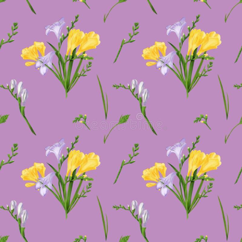 Modèle sans couture avec des freesias colorés et des herbes Texture d'impression de papier peint de tissu sur le fond rose poussi illustration libre de droits
