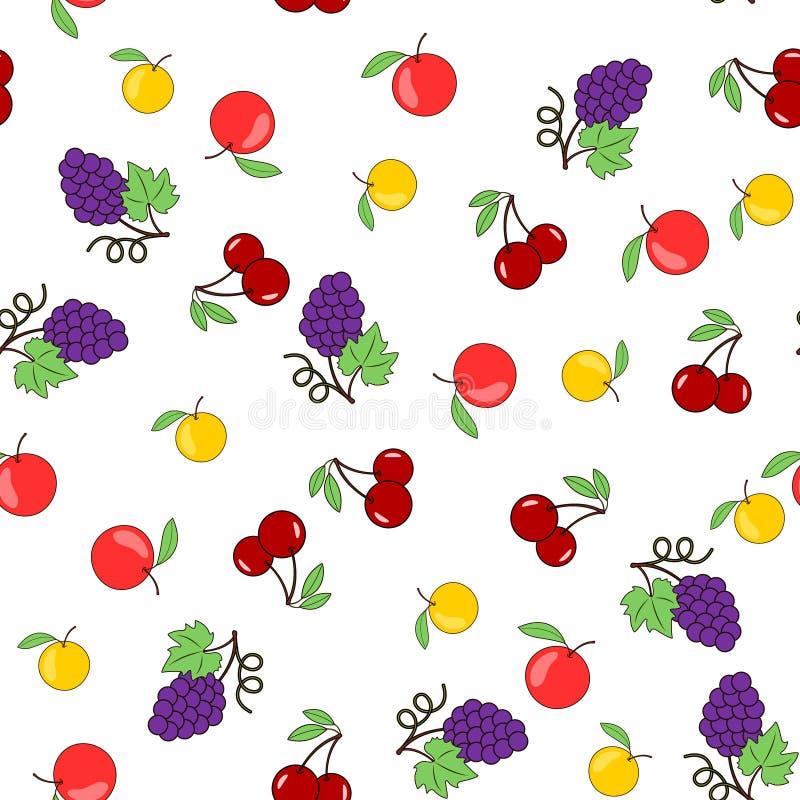 Modèle sans couture avec des fruits sur un fond transparent - les pommes, les raisins et les cerises Vecteur illustration de vecteur