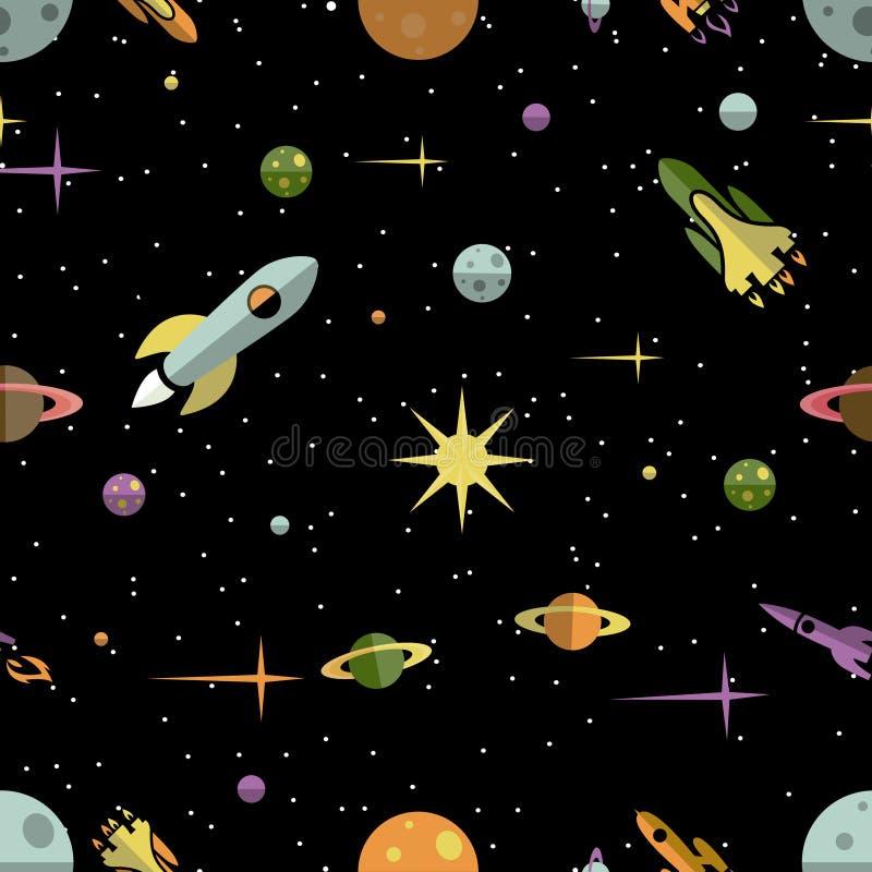 Modèle sans couture avec des fusées et des étoiles de planètes illustration de vecteur