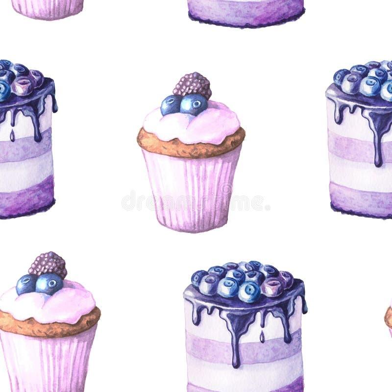 Modèle sans couture avec des gâteaux d'aquarelle illustration libre de droits
