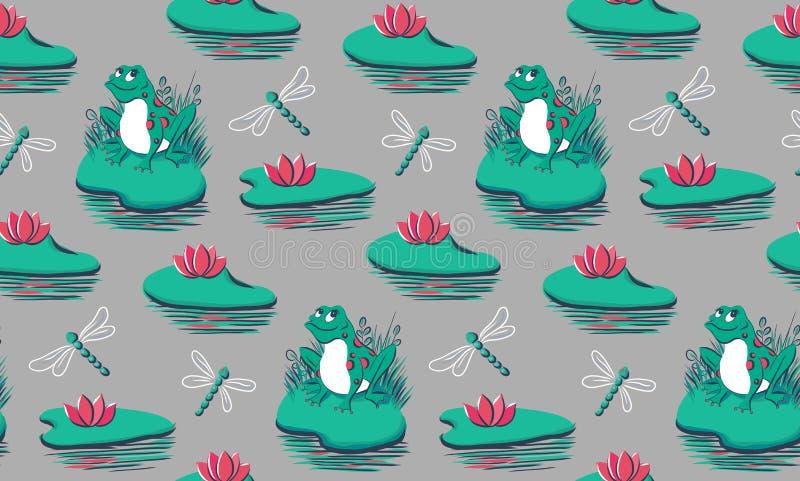 Modèle sans couture avec des grenouilles, nénuphars, libellules sur le fond gris illustration stock