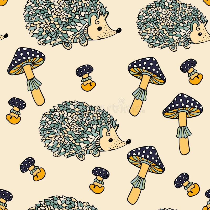 Download Modèle Sans Couture Avec Des Hérissons Et Des Champignons Illustration de Vecteur - Illustration du organique, fleur: 77159179