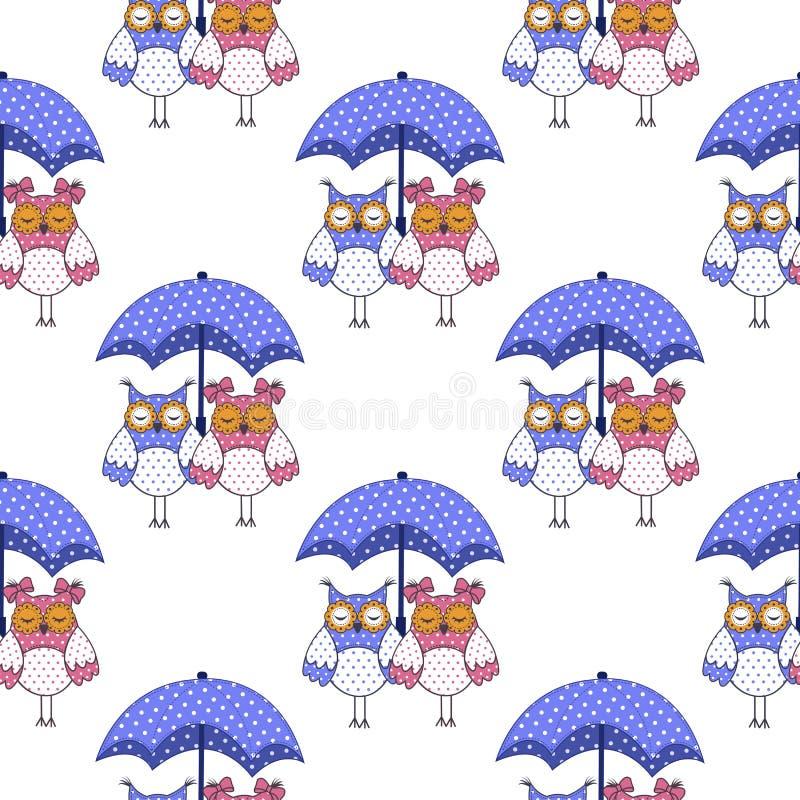 Modèle sans couture avec des hiboux dans l'amour et le parapluie illustration de vecteur