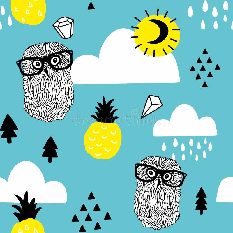Modèle sans couture avec des hiboux de griffonnage dans des lunettes et des diamants dans le ciel illustration libre de droits