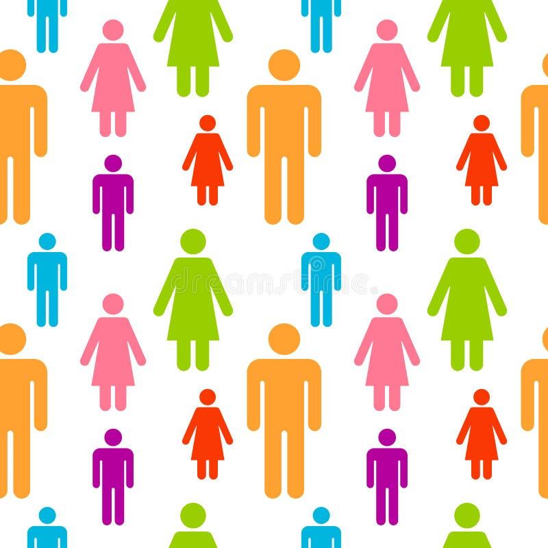 Modèle sans couture avec des icônes de chiffre de personnes Silhouettes de couleur des personnes Illustration abstraite avec le c illustration stock