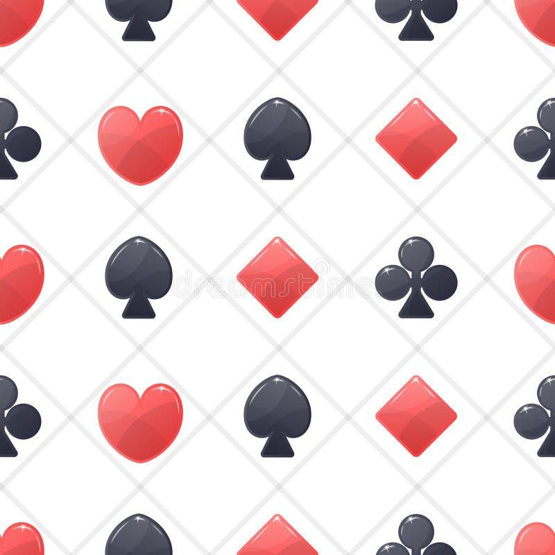 Modèle sans couture avec des icônes de jouer des cartes illustration stock