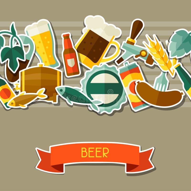 Modèle sans couture avec des icônes d'autocollant de bière et illustration libre de droits