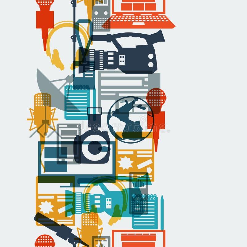 Modèle sans couture avec des icônes de journalisme illustration de vecteur