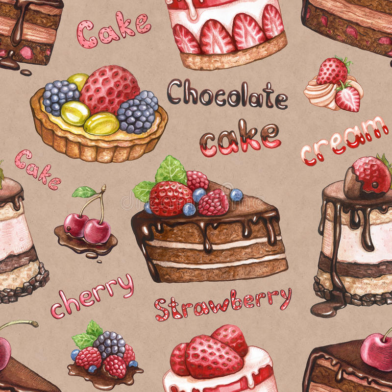Modèle sans couture avec des illustrations de gâteau illustration de vecteur
