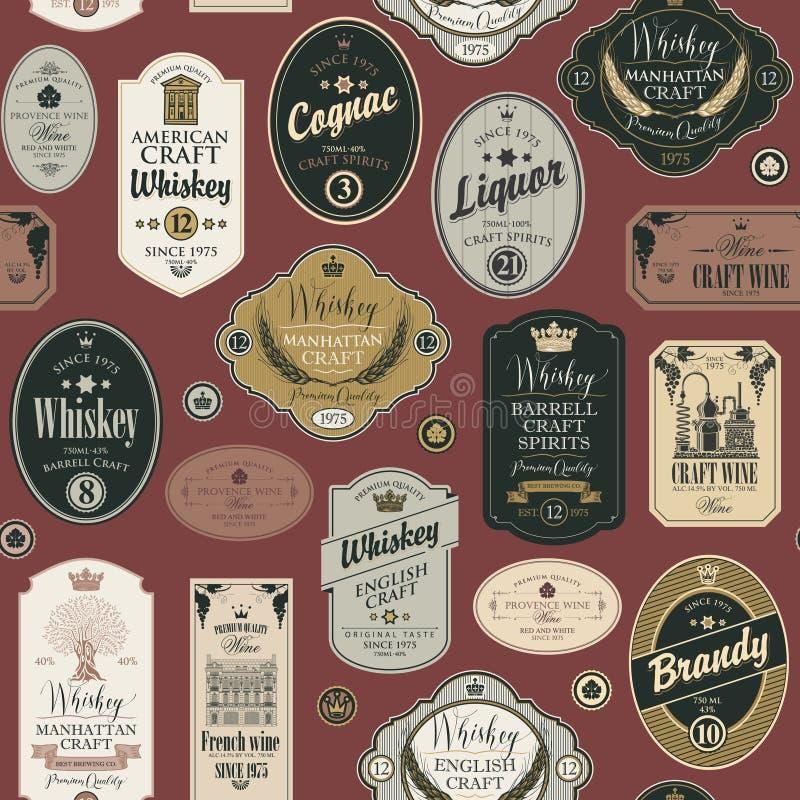 Modèle sans couture avec des labels pour les boissons alcoolisées illustration stock