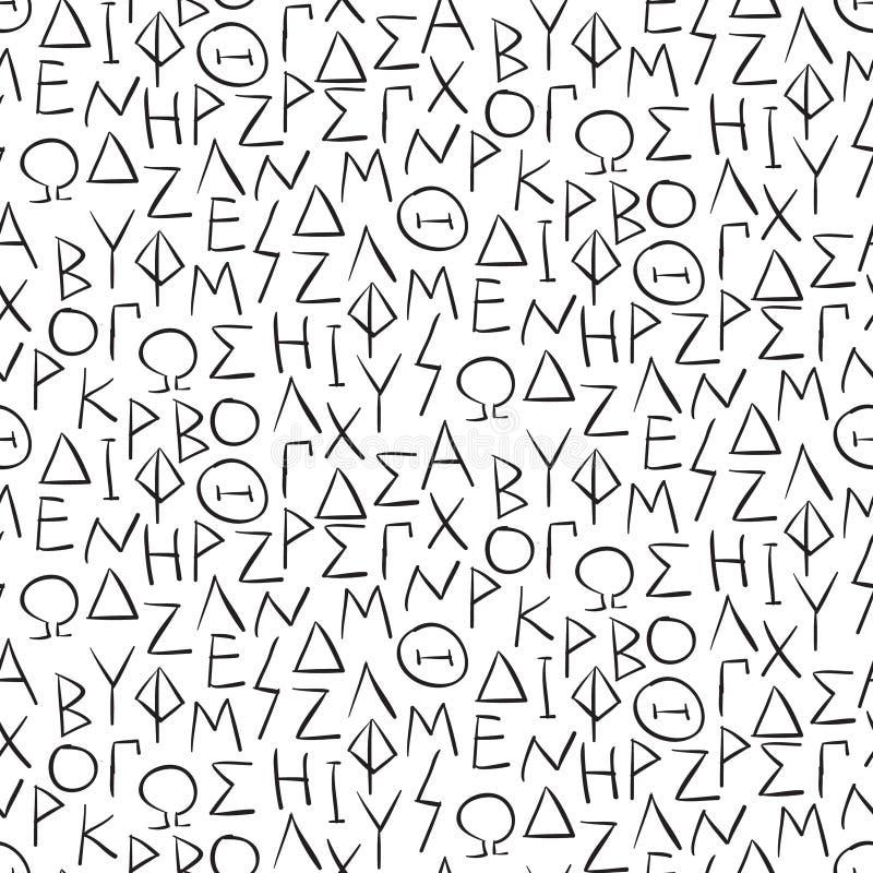 Modèle sans couture avec des lettres de greel sur le mur illustration de vecteur